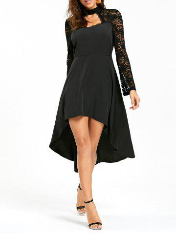 Cheap Lace Insert Cut Out High Low Dress