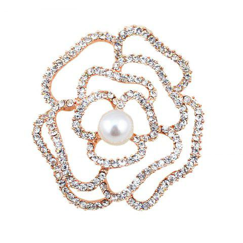 Discount Sparkly Rhinestone Faux Pearl Flower Brooch GOLDEN