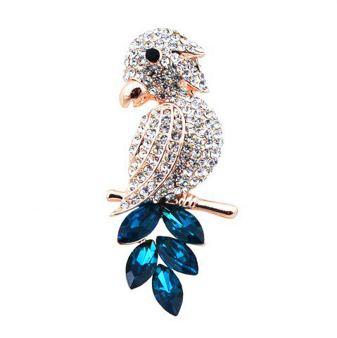 Faux Crystal Rhinestoned Bird Brooch