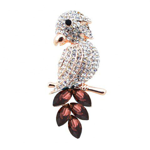 Cheap Faux Crystal Rhinestoned Bird Brooch - PURPLE  Mobile