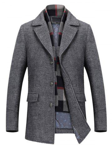 Store Notch Lapel Flap Pocket Classic Wool Blend Coat