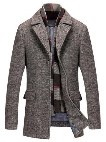 Hot Notch Lapel Flap Pocket Classic Wool Blend Coat