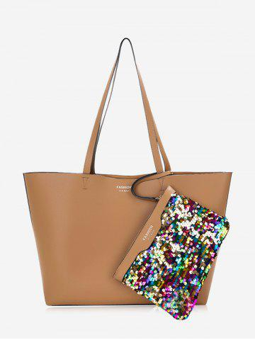 New 2 Pieces Sequined Shoulder Bag Set - BROWN  Mobile