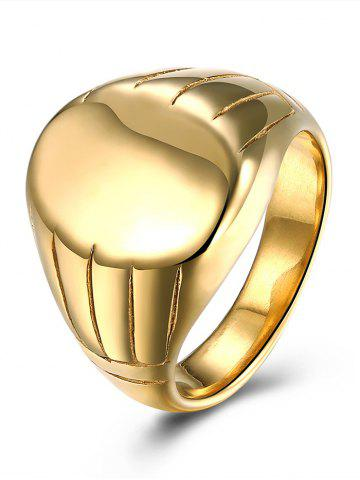 Latest Engraved Claw Oval Finger Ring GOLDEN 8