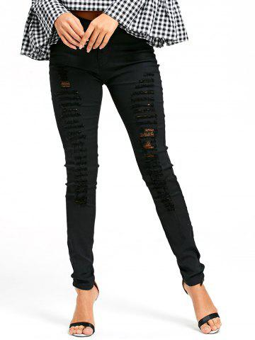 Chic Skinny Ladder Ripped Pencil Pants - M BLACK Mobile