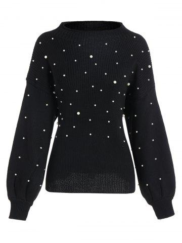 Shops Plus Size Beading Cute Mock Neck Sweater