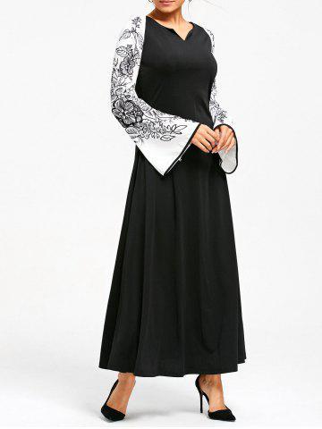 Latest Flower Printed Raglan Sleeve Maix Dress - M BLACK Mobile
