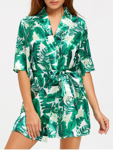 Shops Wrap Tropical Leaves Print Sleep Robe - M GREEN Mobile