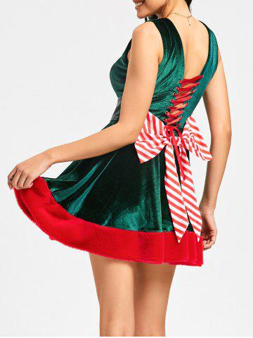 Outfits Lace Up Bowknot Mini Christmas Dress