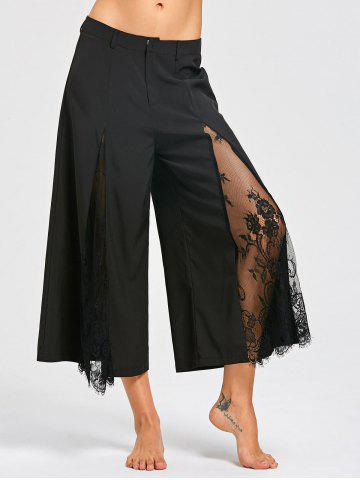 Outfits Eyelash Lace Panel Wide Leg Pants BLACK XL