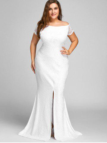 9d6d38595147a Off The Shoulder Slit Lace Plus Size Dress