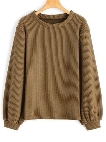 Shops Ribbed Lantern Sleeve Casual Sweatshirt DARK KHAKI S