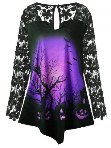 Affordable Halloween Lace Insert Pumpkin Plus Size Tunic T-shirt