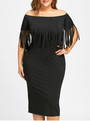 Trendy Plus Size Fringed Off The Shoulder Dress