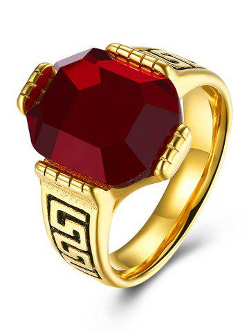 Online Engraved Faux Ruby Fret Finger Ring