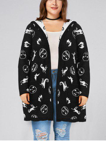 Best Halloween Plus Size Hooded Pockets Graphic Cardigan