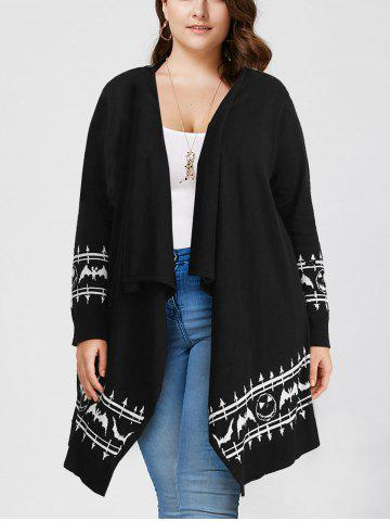 Fashion Halloween Plus Size Graphic Open Front Cardigan