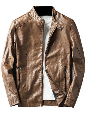 Faux Leather Jacket with Zip Pocket