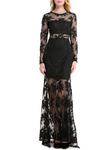 Lace Insert See Through Maxi Dress
