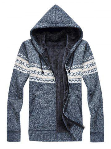 Hooded Fleece Knitted Zip Up Sweater
