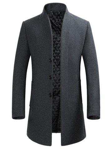 Sale Stand Collar Single-breasted Wool Blend Coat