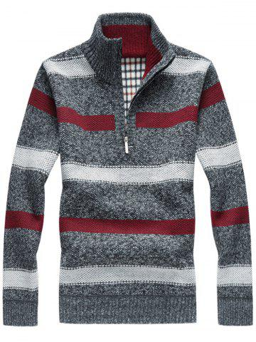 Half Zipper Fleece Stripe Sweater