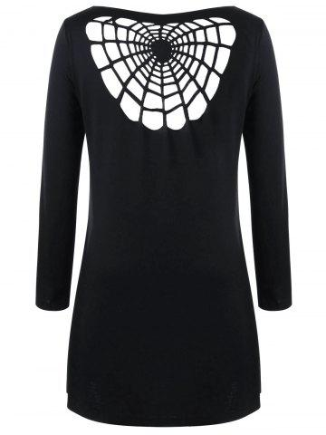 Online Halloween Plus Size Openwork Spider Tunic Top