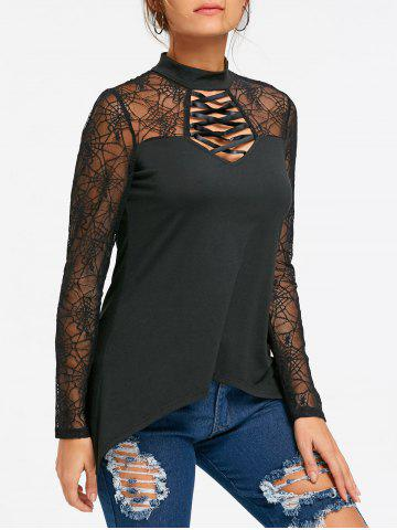 Shop Halloween Spider Web Lace Up Sheer Top