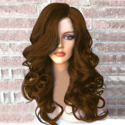 Side Part Long Fluffy Wavy Synthetic Wig - BROWN