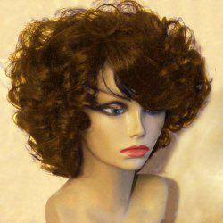 Short Side Bang Fluffy Afro Curly Synthetic Wig -