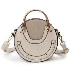 Metal Ring Rivets Stitching Crossbody Bag -