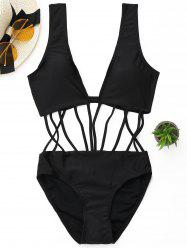 Backless Strappy One Piece Swimsuit - BLACK M