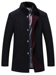 Faux Fur Collar Single Breasted Wool Blend Coat -