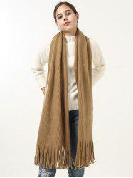 Vintage Soft Fringed Knitted Shawl Scarf -