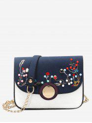 Chain Rivets Embroidery Crossbody Bag -