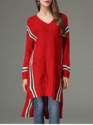 High Low V Neck Sweater Dress -
