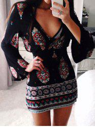Flare Sleeve Plunge Boho Dress -
