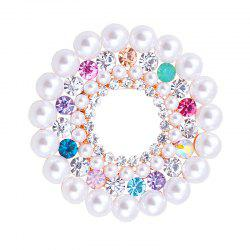Faux Pearl Rhinestoned Floral Brooch -