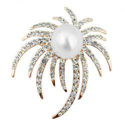 Rhinestoned Faux Pearl Unique Brooch -