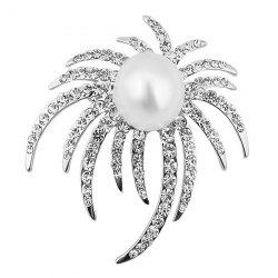 Rhinestoned Faux Pearl Unique Brooch - Argent