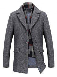 Notch Lapel Flap Pocket Classic Wool Blend Coat -