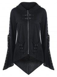 Halloween Eyelets Embellished Zip Up Hoodie - BLACK L