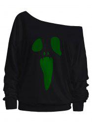 Skew Neck Halloween Ghost Sweatshirt -