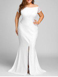 Off The Shoulder Slit Lace Plus Size Dress -