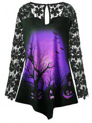 Halloween Lace Insert Pumpkin Plus Size Tunic T-shirt -