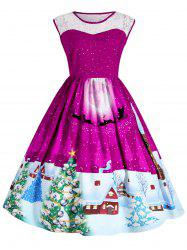 Christmas Plus Size Lace Panel Sleeveless Party Dress -