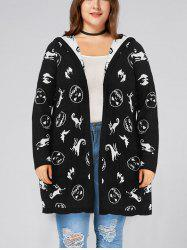Halloween Plus Size Hooded Pockets Graphic Cardigan -