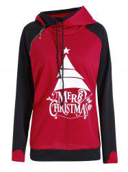 Plus Size  Oblique Zipper Hit Color Merry Christmas Hoodie -