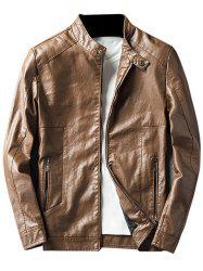 Faux Leather Jacket with Zip Pocket -