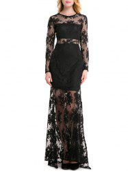 Lace Insert See Through Maxi Dress -